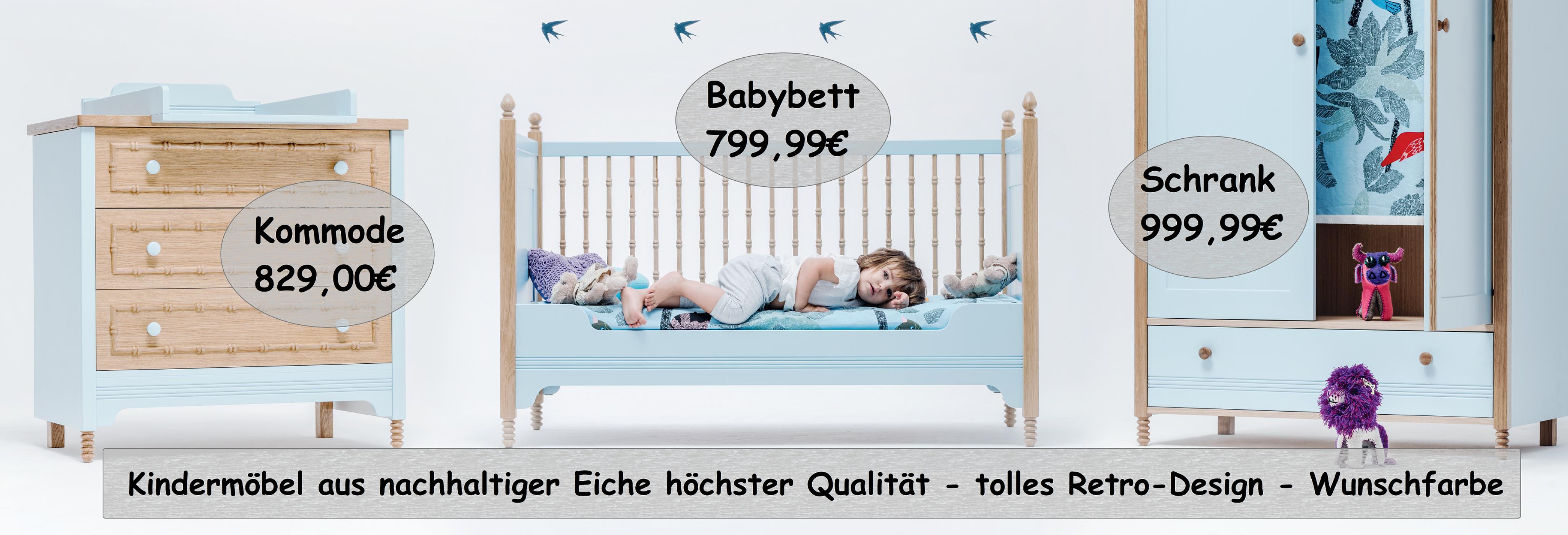 Babyzimmer-Set, Kinderzimmer, Design, Echtholz, Holz, Wunschfarbe