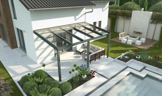 Terrassenüberdachung, Regenschutz, Schiebedach